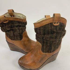 Bed Stu Burges Slouch Camel Wedge Boots Size 8.5